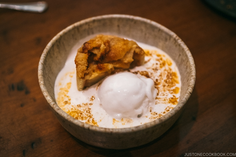 apple pie with bay leaf meringue and coconut sorbet at HSL Salt Lake City - Ski Vacation Planning in Utah | www.justonecookbook.com