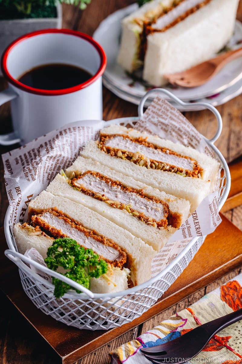 Katsu Sando served in the white basket.
