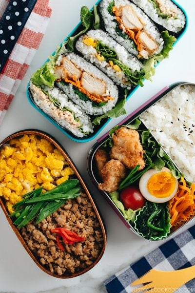 3 easy bento boxes filled with delicious meals.