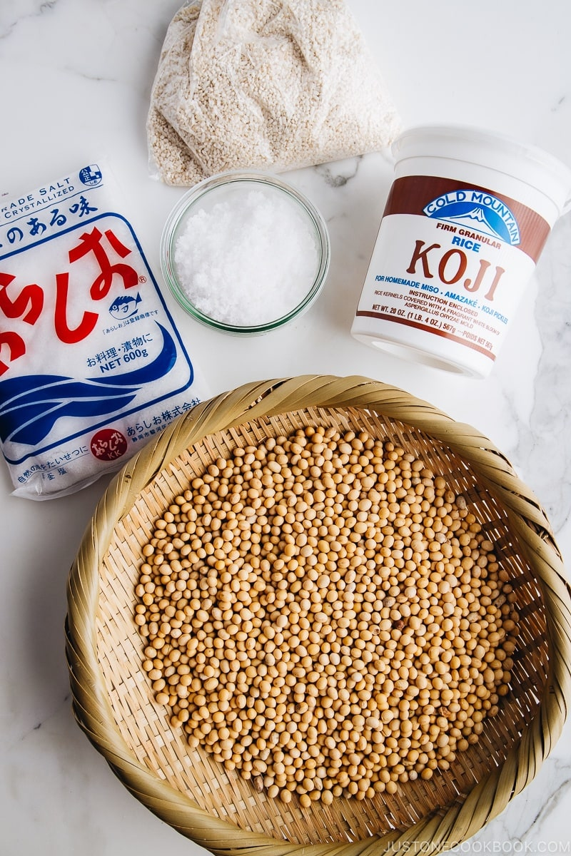 Ingredients for making miso paste