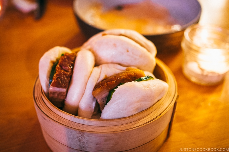 pork bun with honey hoisin sauce at Provisions Restaurant Salt Lake City - Ski Vacation Planning in Utah | www.justonecookbook.com
