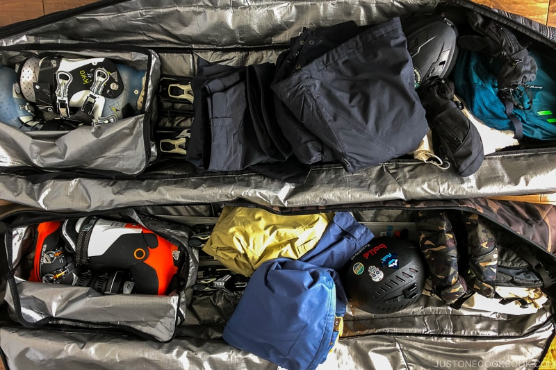 examples of how to pack ski bags - Ski Vacation Planning in Utah | www.justonecookbook.com