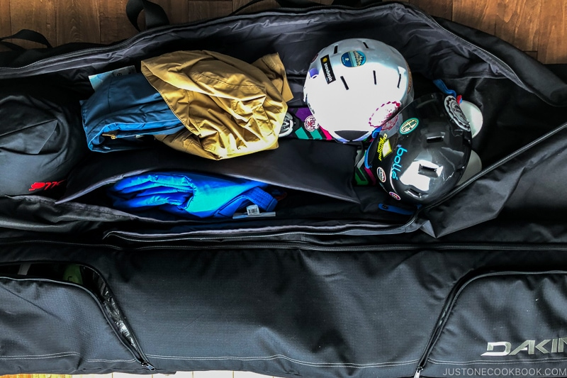 examples of how to pack double ski bags - Ski Vacation Planning in Utah | www.justonecookbook.com