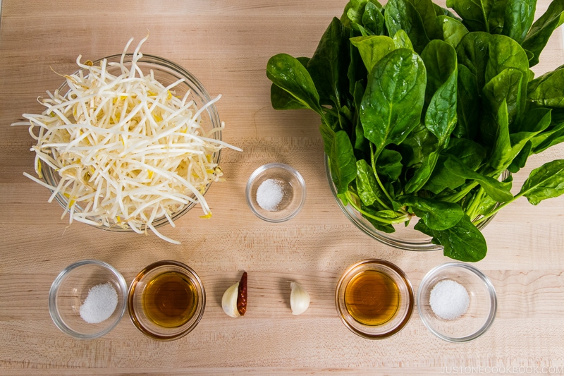 Spinach and Bean Sprout Namul Ingredients