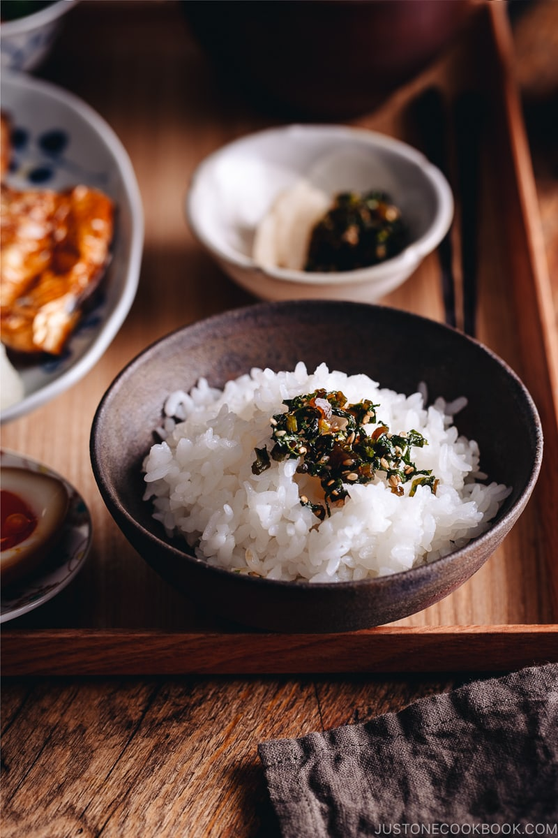 Daikon leaves furikake on the steamed rice.