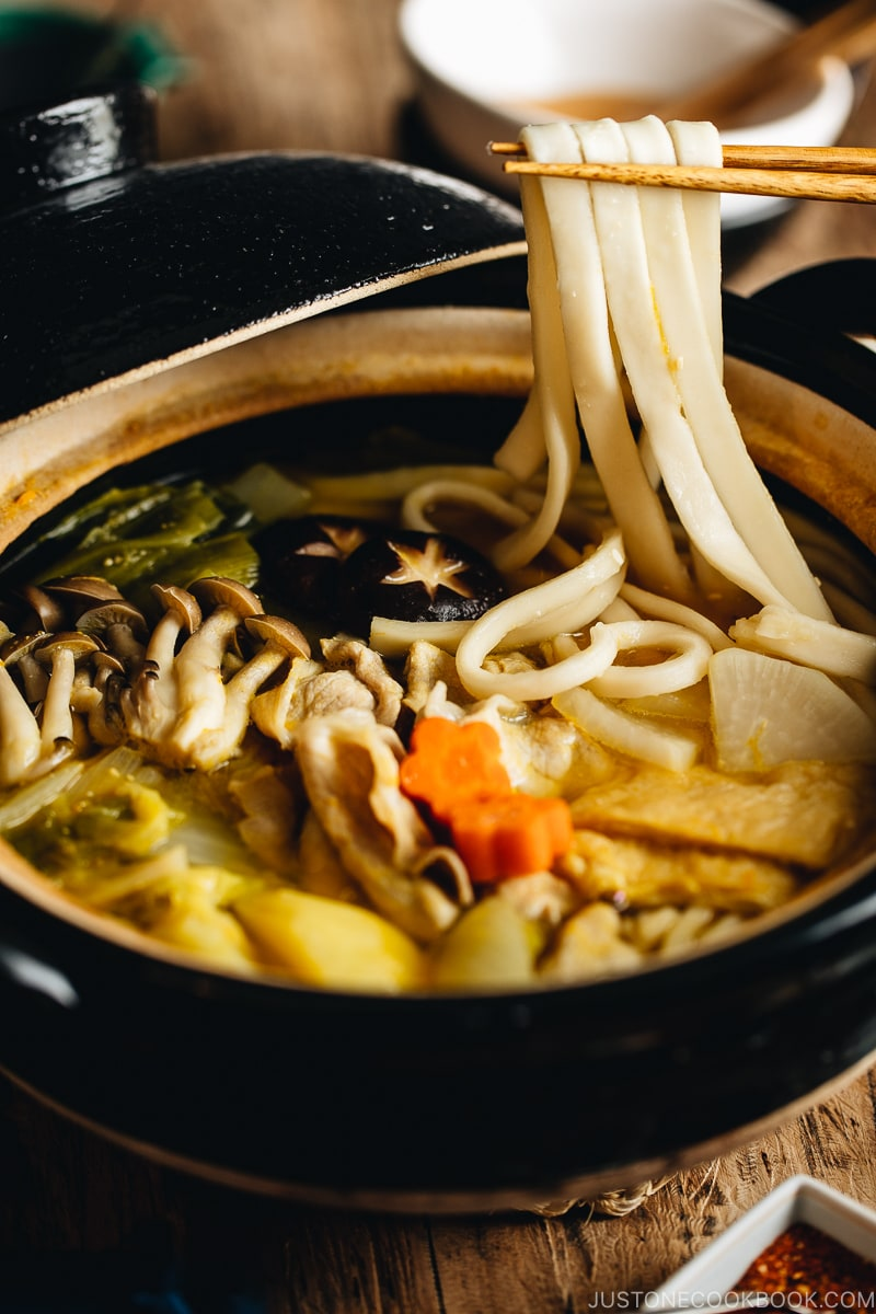 Hoto noodle soup in the Japanese donabe pot.