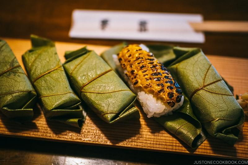 grilled corn sushi at Hirasou Nara - Nara Guide: Things to do in Nara | www.justonecookbook.com