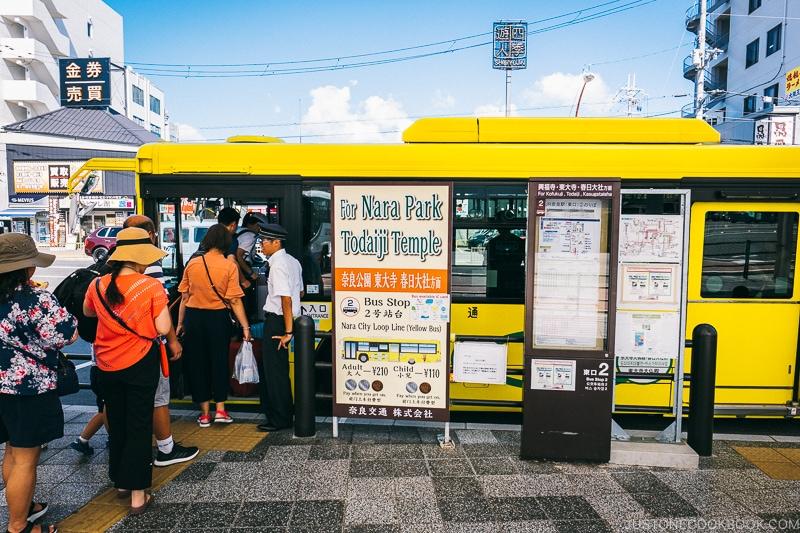 passengers boarding Nara City Loop Bus at Nata Station - Nara Guide: Things to do in Nara | www.justonecookbook.com