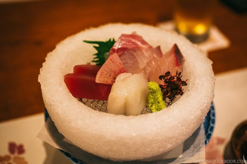 sashimi at Asukasou Ryokan - Nara Guide: Things to do in Nara | www.justonecookbook.com