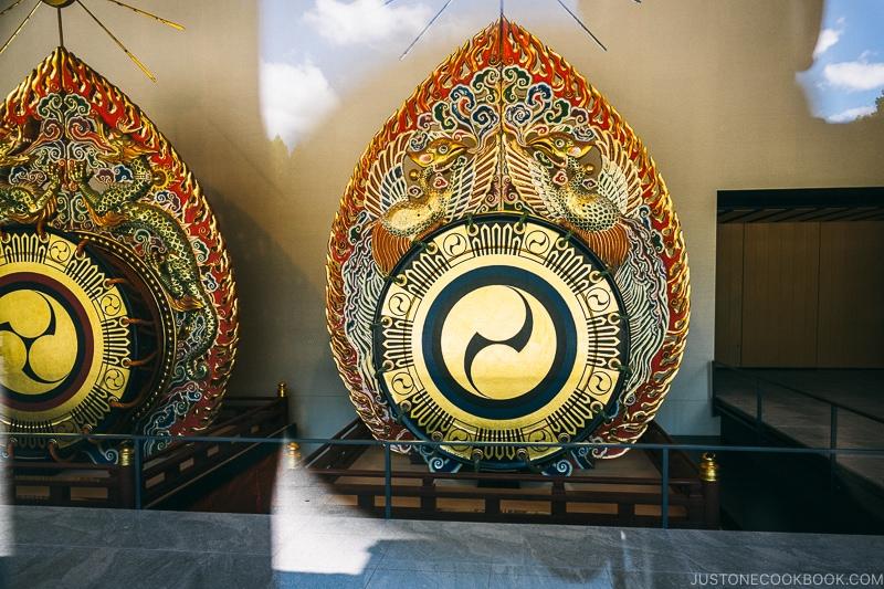 Taiko drums on display at Kasugataisha Museum