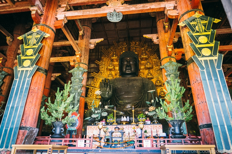 Giant Buddha Statue in Todaiji - Nara Guide: Historical Nara Temples and Shrine | www.justonecookbook.com