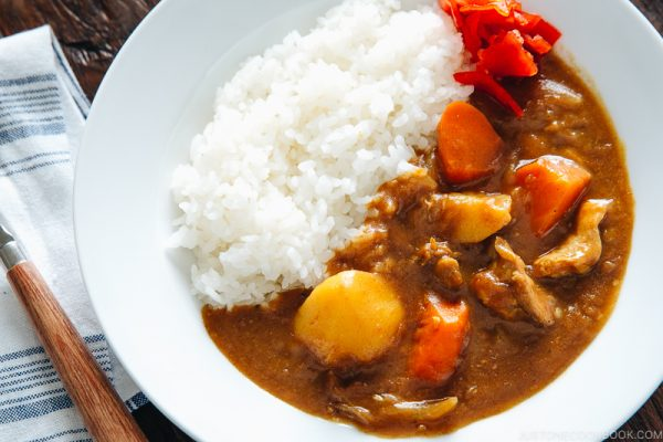 Japanese curry served with rice.
