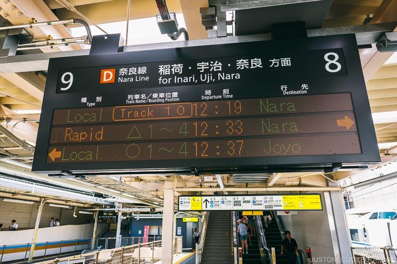 train info sign at Nara station - Nara Guide: Things to do in Nara | www.justonecookbook.com