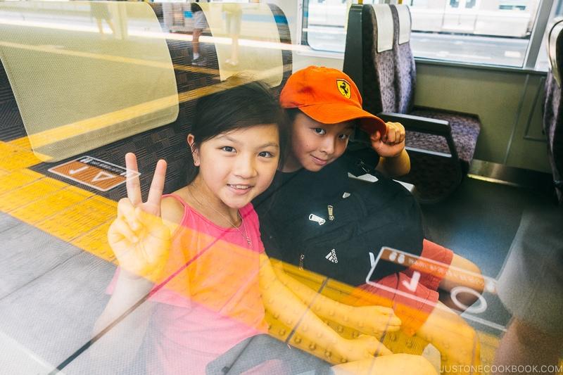 children inside Miyakoji rapid service - Nara Guide: Things to do in Nara | www.justonecookbook.com