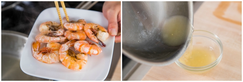 taking shrimp out from a pan