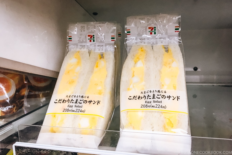 7 Eleven Egg Salad Sandwich - Tamago Sando on the convenience store shelf.