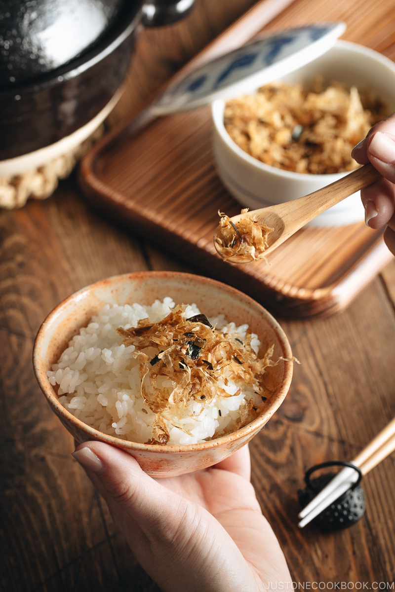 Homemade Japanese Rice Seasoning being served over steamed rice.