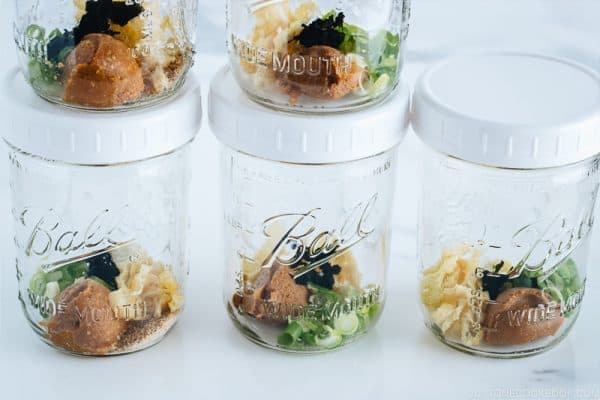 Homemade instant miso soup in mason jars.