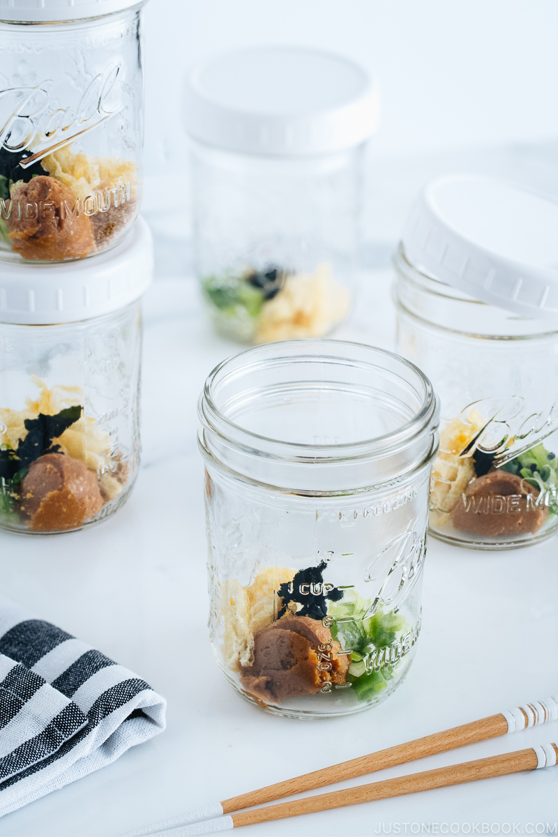 Homemade Instant Miso Soup in mason jars, ready for hot water.