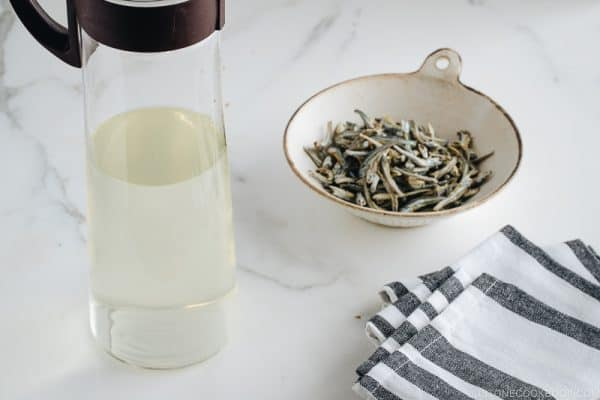 Iriko Dashi - Japanese Baby Anchovy Soup Stock in the bottle.