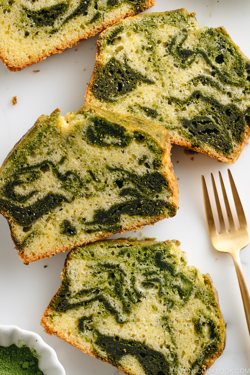 Beautiful matcha marble pound cake slices showing the swirl.