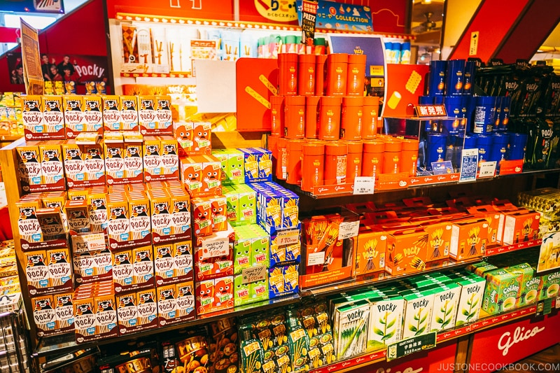 various type of Pocky products on display