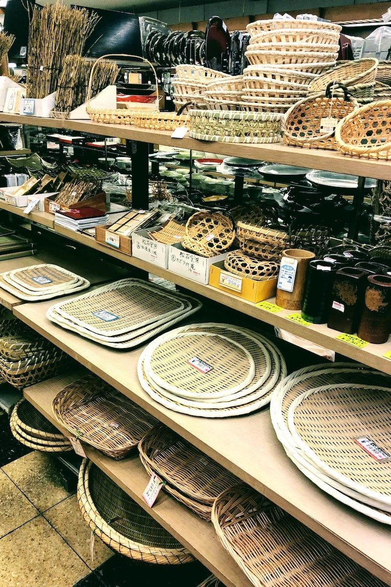 Wooden plates and baskets - Osaka Guide: Kuromon Ichiba Market and Kitchenware Street | www.justonecookbook.com