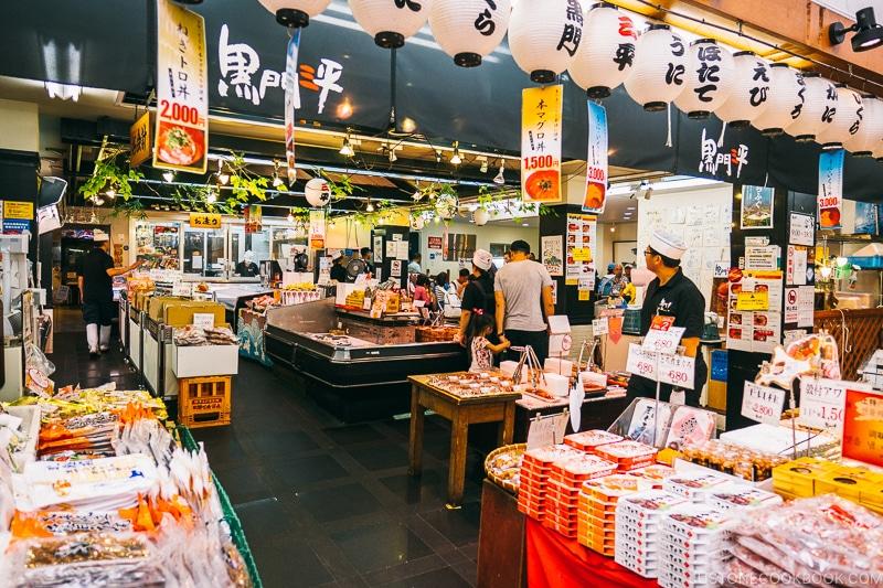 Kuromon Sanpei seafood store - Osaka Guide: Kuromon Ichiba Market and Kitchenware Street | www.justonecookbook.com
