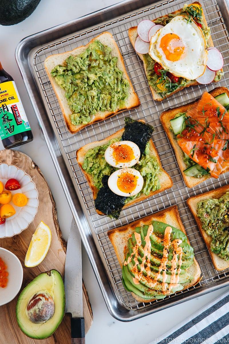 6 Japanese Twists on Avocado Toast on baking sheet