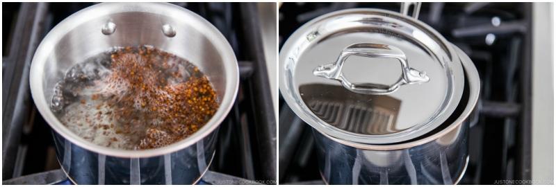 Buckwheat tea in a pot