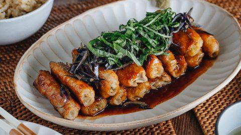Ginger Pork Rolls with Eggplant 茄子の肉巻き生姜焼き