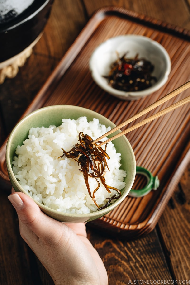 Simmered kombu over steamed rice.