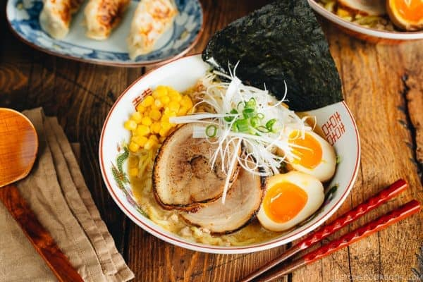 Miso ramen with homemade chashu and ramen egg garnished with nori.