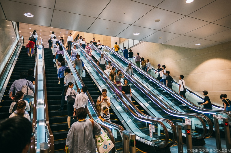 6 escalators side by side - Osaka Guide: Umeda | www.justonecookbook.com