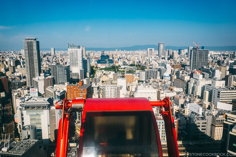 view of Osaka skyline from HEP FIVE FERRIS WHEEL - Osaka Guide: Umeda | www.justonecookbook.com