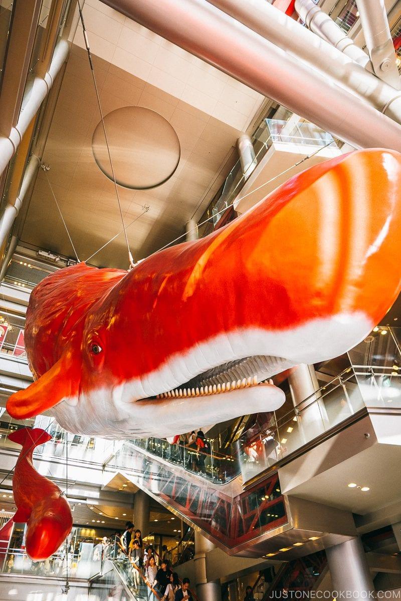 Giant whale sculpture by Tatsuya Ishii - Osaka Guide: Umeda | www.justonecookbook.com