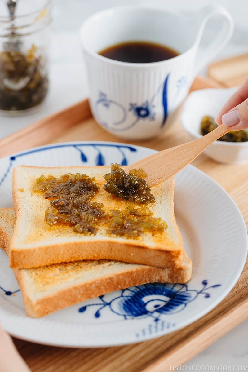 Plum jam spread onto the toasted Japanese milk bread.