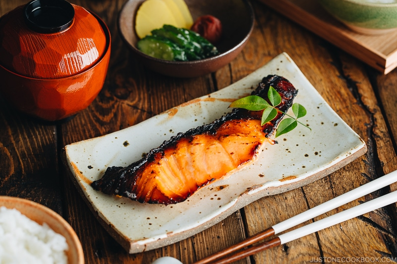 Salmon kasuzuke served on a Japanese plate.