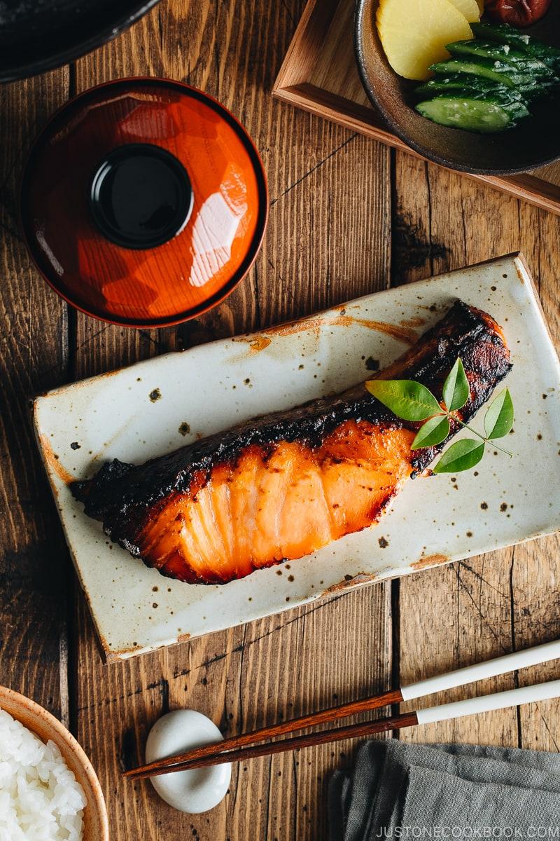 Salmon kasuzuke served on a Japanese plate.