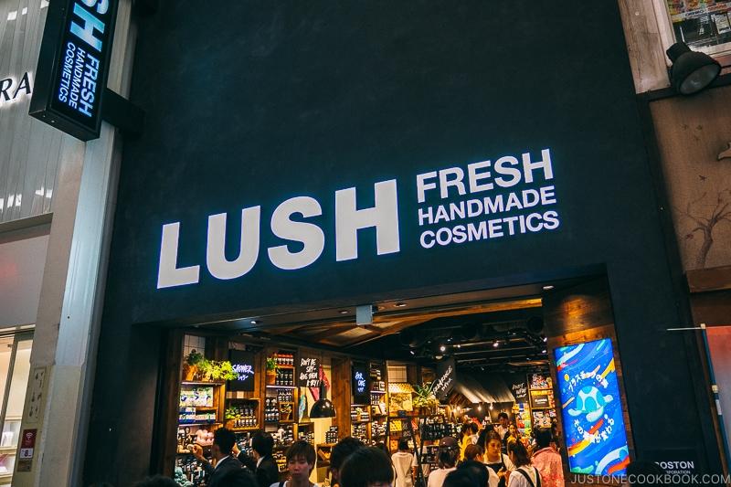 Lush cosmetics store - Osaka Guide: Amerikamura & Shinsaibashi Shopping Street | www.justonecookbook.com
