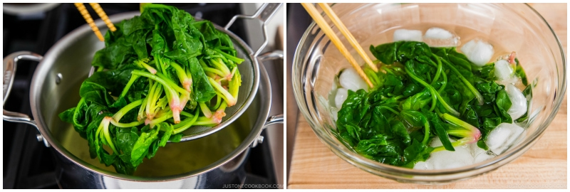 Spinach with Sesame Miso Sauce 5