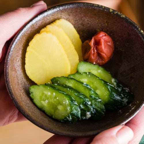 Sake lees pickles (Kasuzuke) in a Japanese bizen bowl.