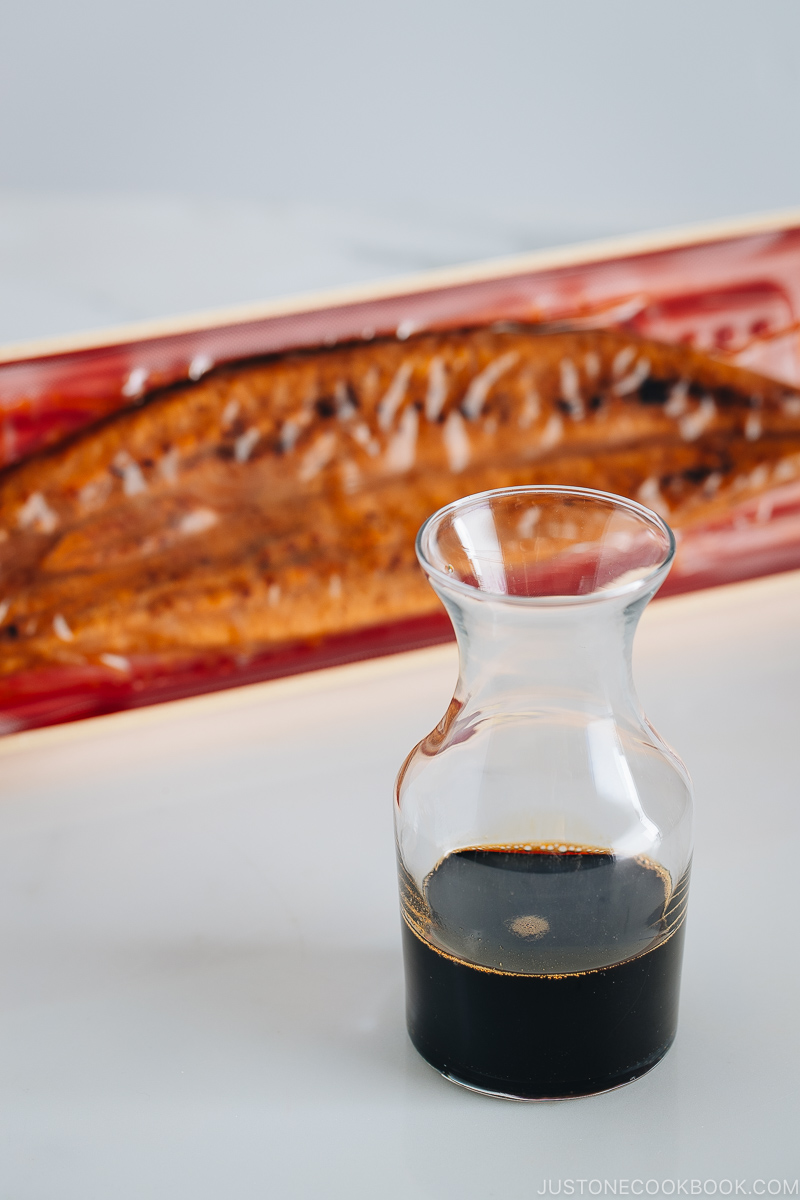 Homemade unagi sauce in a glass jar.