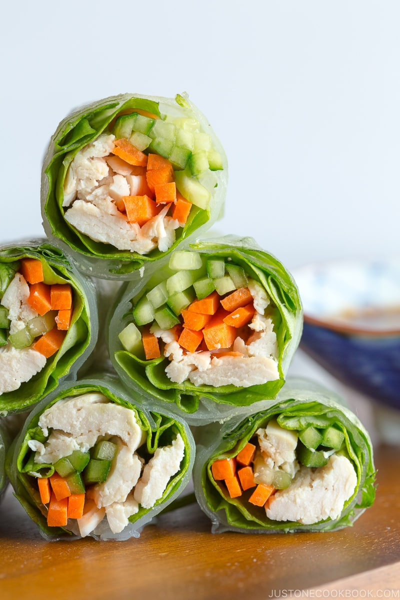 Chicken Spring Rolls with Sesame Sauce 12 Summer BBQ & Potluck Recipes Your Guests Would Love | Easy Japanese Recipes at JustOneCookbook.com