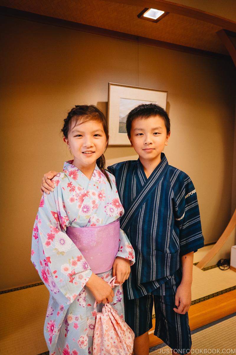 children dressed in yukata for fireworks festival - Japan's Fireworks Hanabi | www.justonecookbook.com