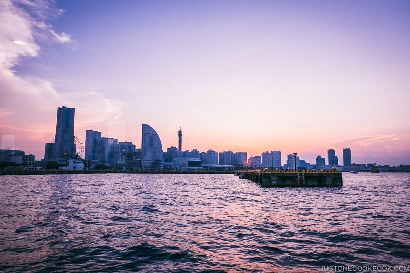 view of downtown Yokohama from a boat - Japan's Fireworks Hanabi | www.justonecookbook.com