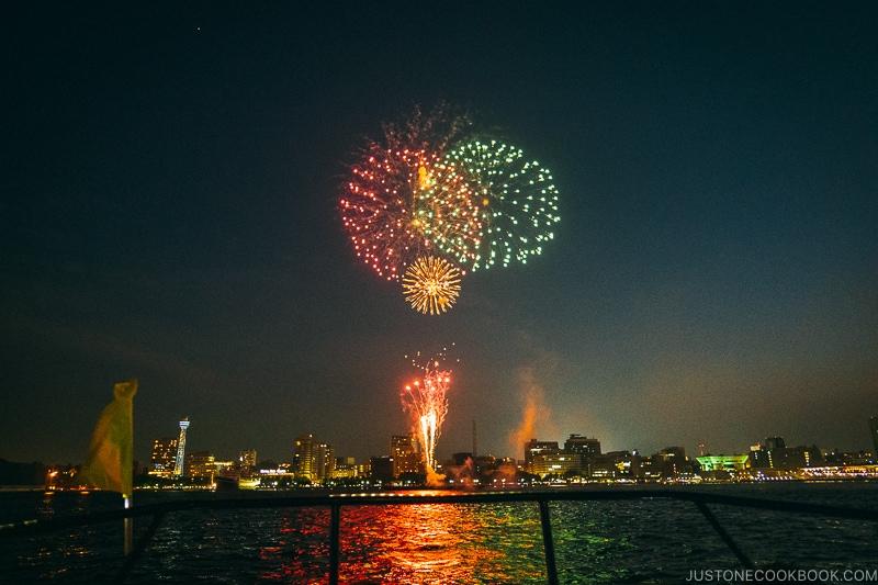 view of fireworks at Yokohama Sparkling Twilight fireworks festival from a boat - Japan's Fireworks Hanabi | www.justonecookbook.com