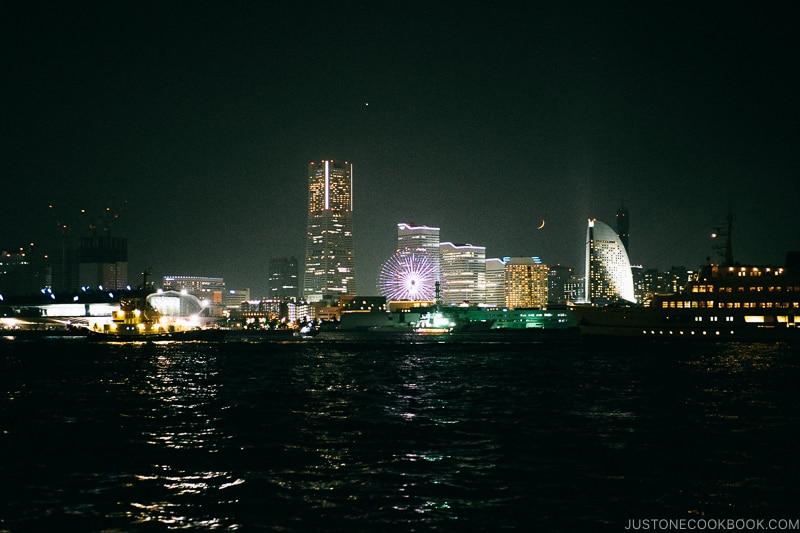 view of downtown Yokohama at night time - Japan's Fireworks Hanabi | www.justonecookbook.com