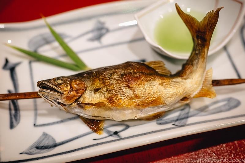 grilled ayu yakimono - Kaiseki Ryori: The Art of the Japanese Refined Multi-course Meal | www.justonecookbook.com