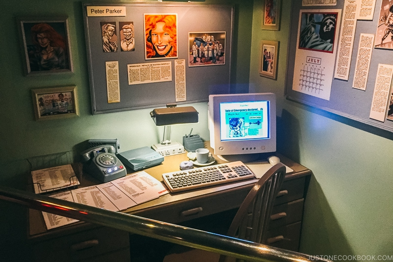 Daily Bugle office inside Spider-man the ride - Osaka Guide: Universal Studios Japan | www.justonecookbook.com